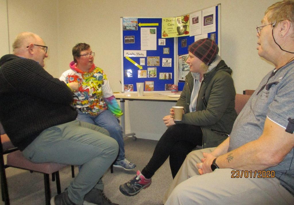 Lisa at the last coffee morning talking about her experience of attending a Death Cafe.